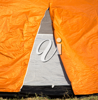 Entrance to the tent as a background