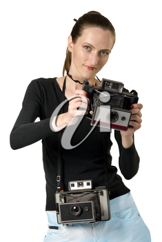 Beautiful girl whit vintage cameras retro photo, isolation on white