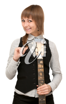 Royalty Free Photo of a Woman With a Guitar