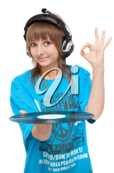 Royalty Free Photo of a Woman Holding a Vinyl Disc
