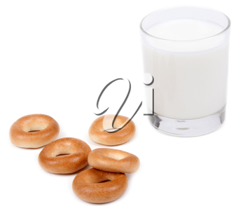 Royalty Free Photo of Milk and Bagels