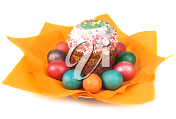 Royalty Free Photo of Easter Eggs and a Cake