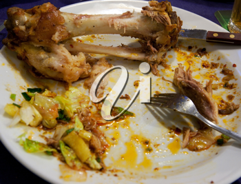 Royalty Free Photo of Leftover Food on a Plate