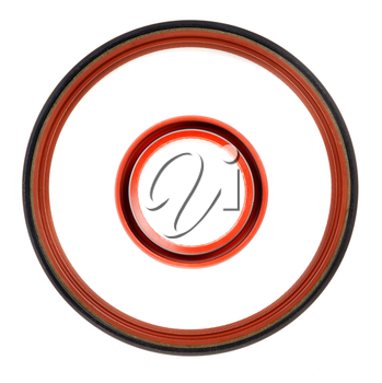 Two circular seal the engine on a white background