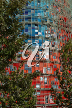 Barcelona, Spain - January 28, 2014: Agbar Tower in Barcelona, designed by Jean Nouvel on January 28, 2014.
