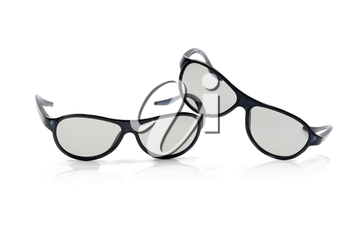 Two pairs of polarized 3D glasses for TV. Izolcht on white.