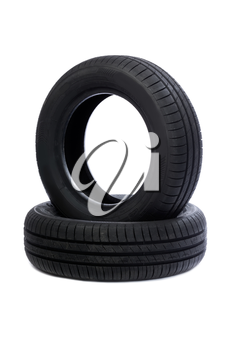 Two rubber car tire side view. Studio. Isolate on white.
