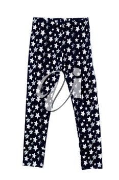 Ladies warm leggings with star pattern. Isolate on white.