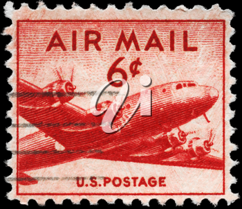 Royalty Free Photo of 1947 US Stamp of the Douglas DC-4 Skymaster