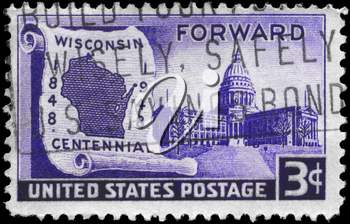 Royalty Free Photo of US Stamp from 1948 With Map on Scroll and State Capitol, Wisconsin Statehood Issue