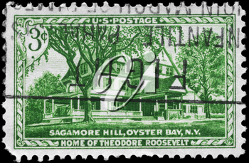 Royalty Free Photo of 1953 US Stamp of the Home of Theodore Roosevelt, Opening of Sagamore Hill