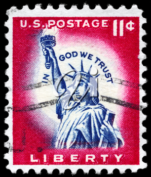 Royalty Free Photo of 1956 US Stamp Shows the Statue of Liberty