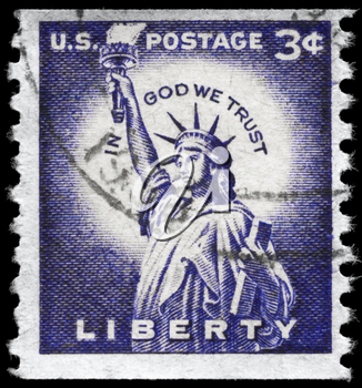 Royalty Free Photo of 1966 US Stamp Shows the Statue of Liberty