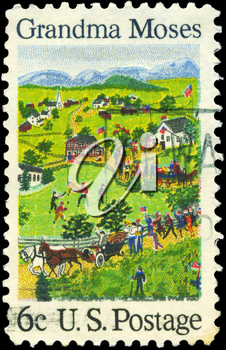 Royalty Free Photo of 1969 US Stamp Shows July Fourth, by Grandma Moses (1860-1961), Artist