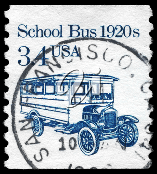 Royalty Free Photo of 1985 US Stamp Shows the School Bus, Transportation