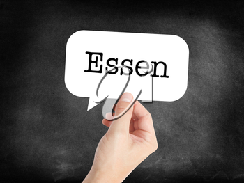 Essen written on a speechbubble