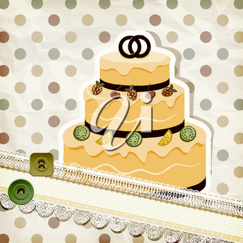 Royalty Free Clipart Image of a Wedding Cake