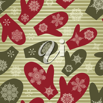 Royalty Free Clipart Image of a Background of Mittens