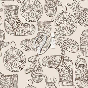 Royalty Free Clipart Image of Stockings, Mittens and Ornaments