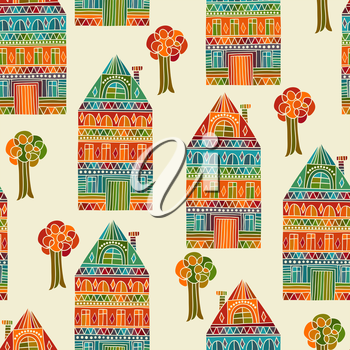 Royalty Free Clipart Image of Homes and Trees