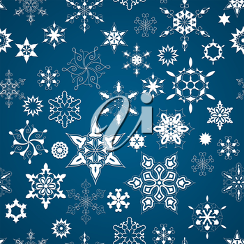 Vector Seamless Christmas Pattern with White Snowflakes