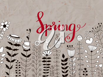 Vector Floral Pattern with Spring Red Lettering