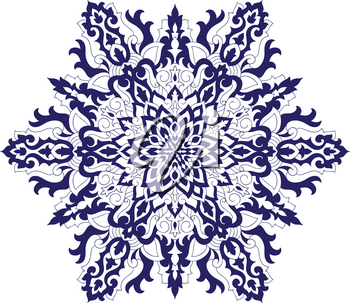 Vector Blue Highly detailed Snowflake