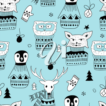 Vector Seamless Pattern with  Doodle Animals: fox, owl, deer, and pinguin