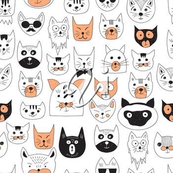 Vector Seamless Pattern with Doodle Cats