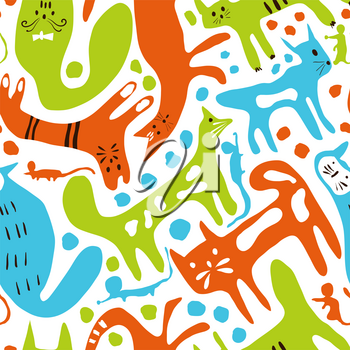Vector seamless pattern with cats and mice. Childish nursering pattern in scandinavian style.