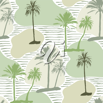 Vector Seamless Tropical Pattern. Grungy Floral Collage with Palm Trees.