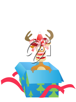 Royalty Free Clipart Image of a Reindeer in a Box