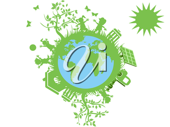 Royalty Free Clipart Image of a Green Earth Concept