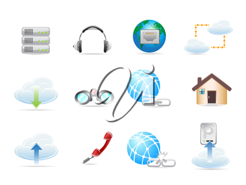 Royalty Free Clipart Image of Network Icons