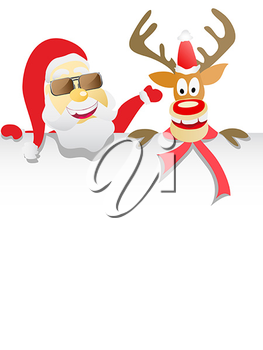 Royalty Free Clipart Image of Santa Claus and a Reindeer