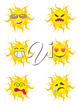Royalty Free Clipart Image of Sun Characters