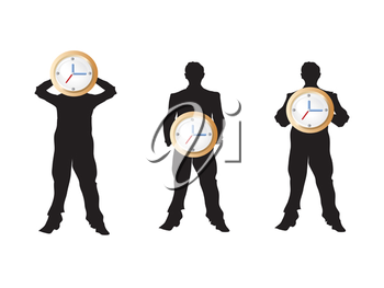 Royalty Free Clipart Image of People Holding Clocks