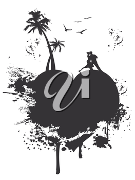 Royalty Free Clipart Image of a Blob With People and Palm Trees