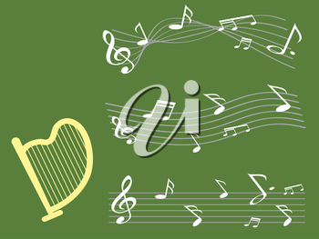 the background of harp with music note for st patrick day