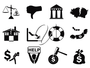 isolated black bankruptcy icons set from white background