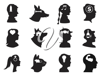 isolated people and pets head with icons on white background