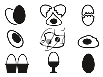 isolated egg icons set from white background