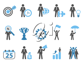 isolated business metaphor icons set blue series on white background