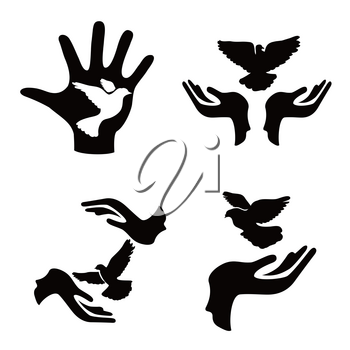 isolated hands with pigeon icons set from white backgronud
