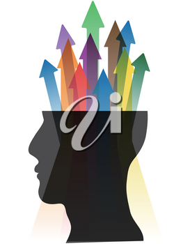 isolated color arrows out from human head on white background