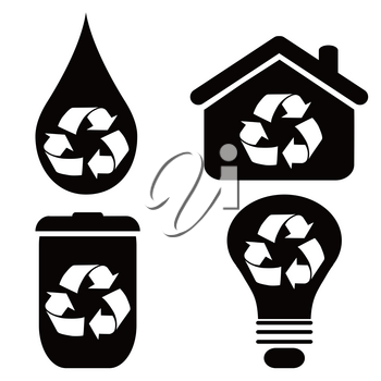 isolated recycle symbol icons set from white background