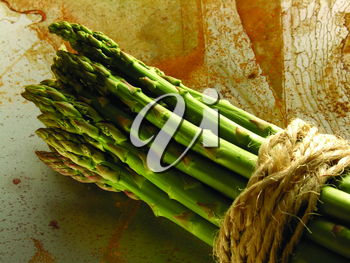 Royalty Free Photo of Asparagus Tied With Cord