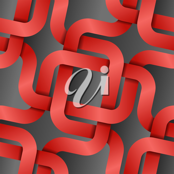 Royalty Free Clipart Image of a Grey Background With Entwined Red Lines