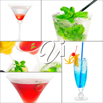 selection of cocktails drinks  collage composition nested on a square frame