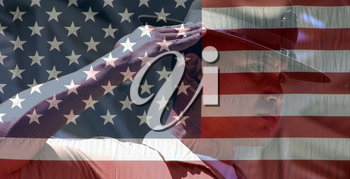 Royalty Free Photo of a Marine and American Flag